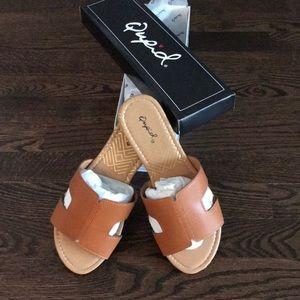 Shoes - Vegan Leather Slide On Sandals